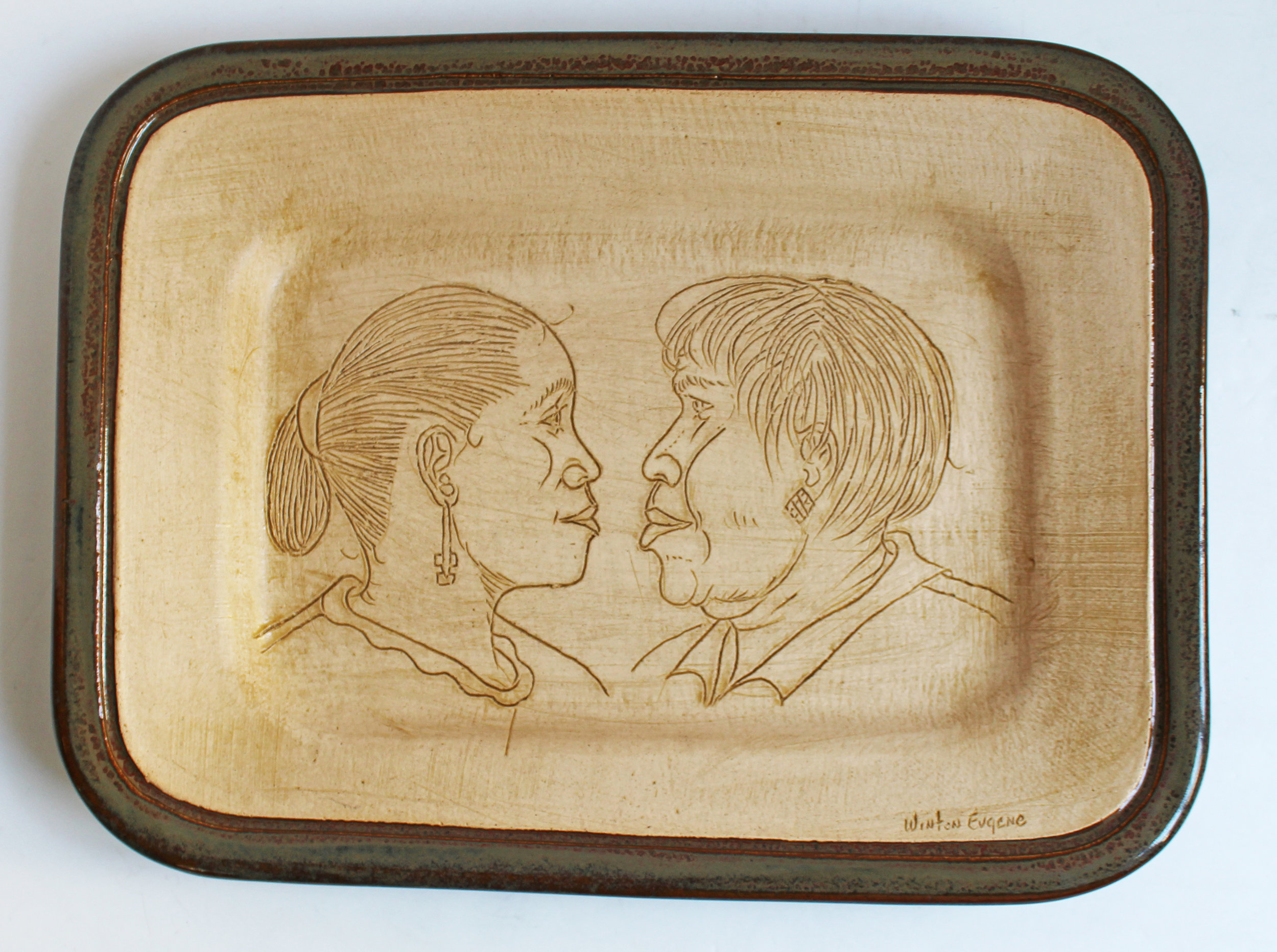 Etched Face Platter