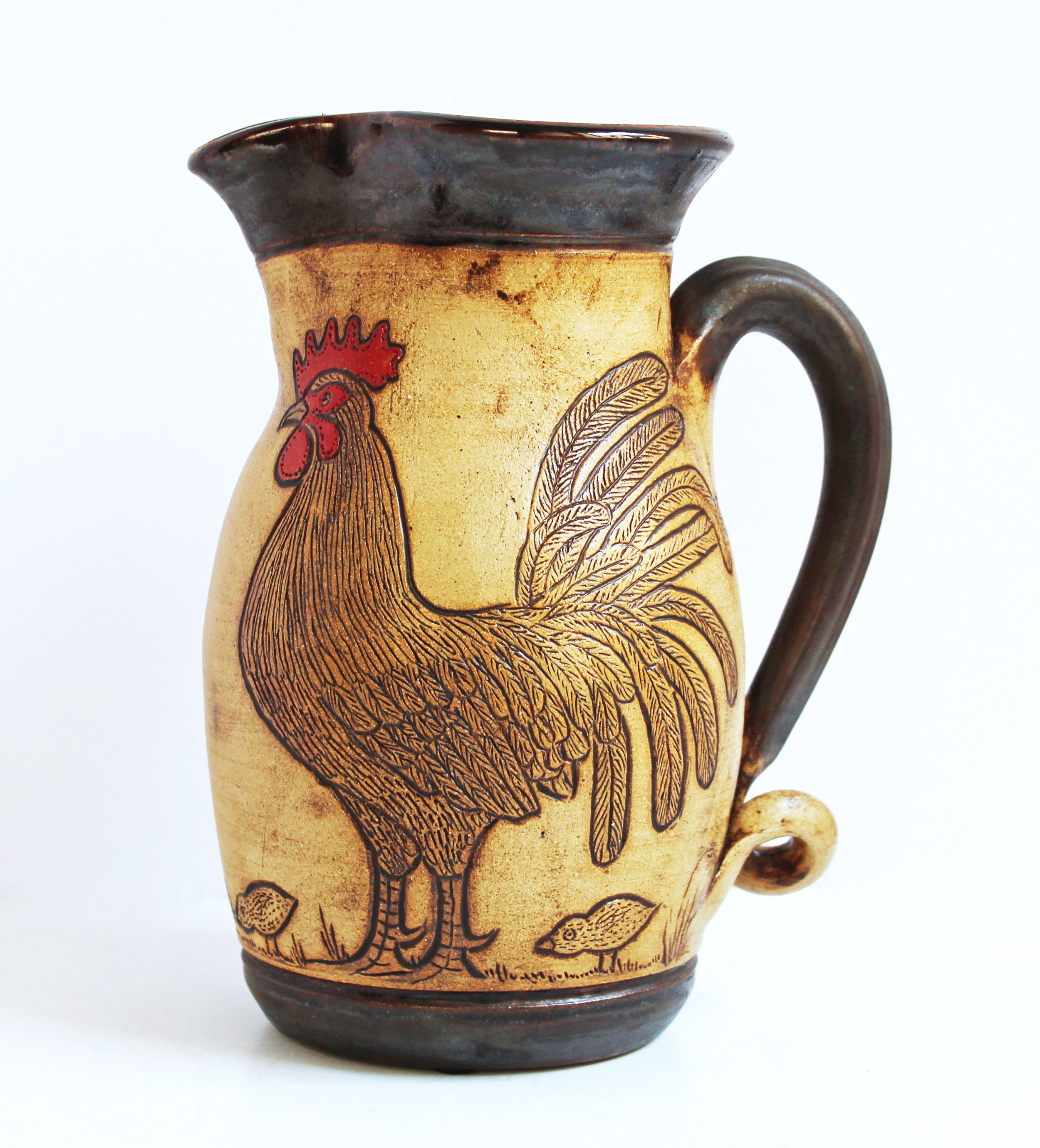Etched Chicken Pitcher