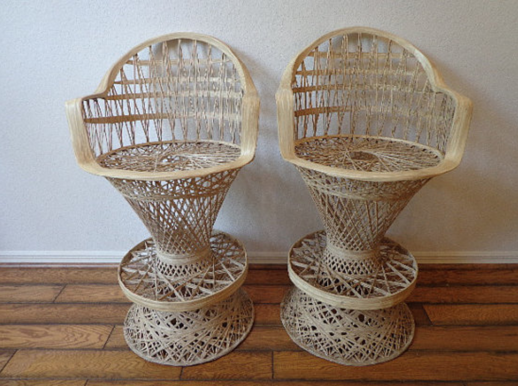 Wicker-Bar-Stools-Vintage-Fiberglass-Tiki-Bar