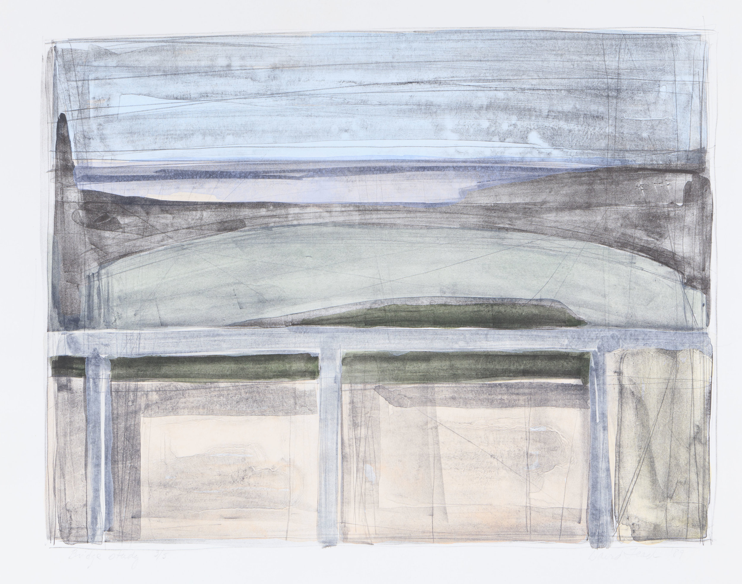Bridge Study  .  1989.  16 × 20 ½ in.  Hand-tinted lithograph An edition of 5 was hand-tinted using 7 water color glazes in 2007.