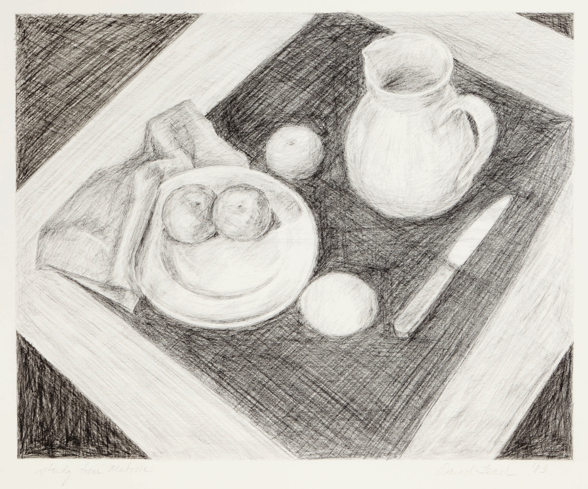 Study from Matisse  .  1983.  18 × 20 in., charcoal pencil