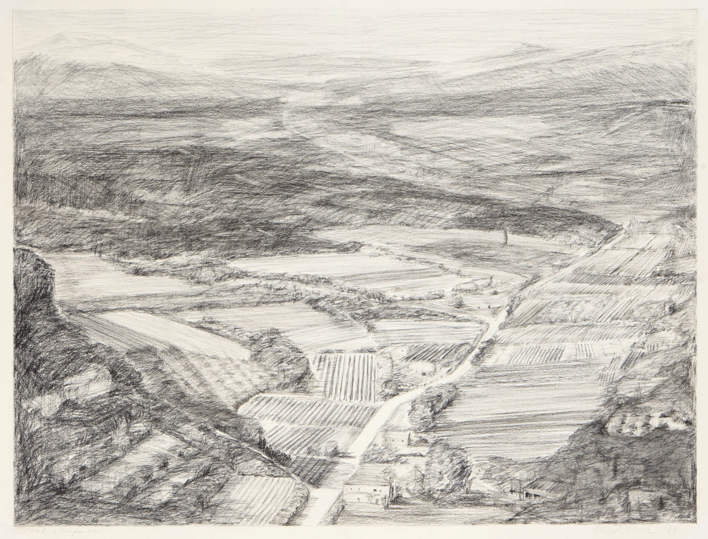 Road to Carpentras  .  1983.  19½ × 25½ in., charcoal pencil
