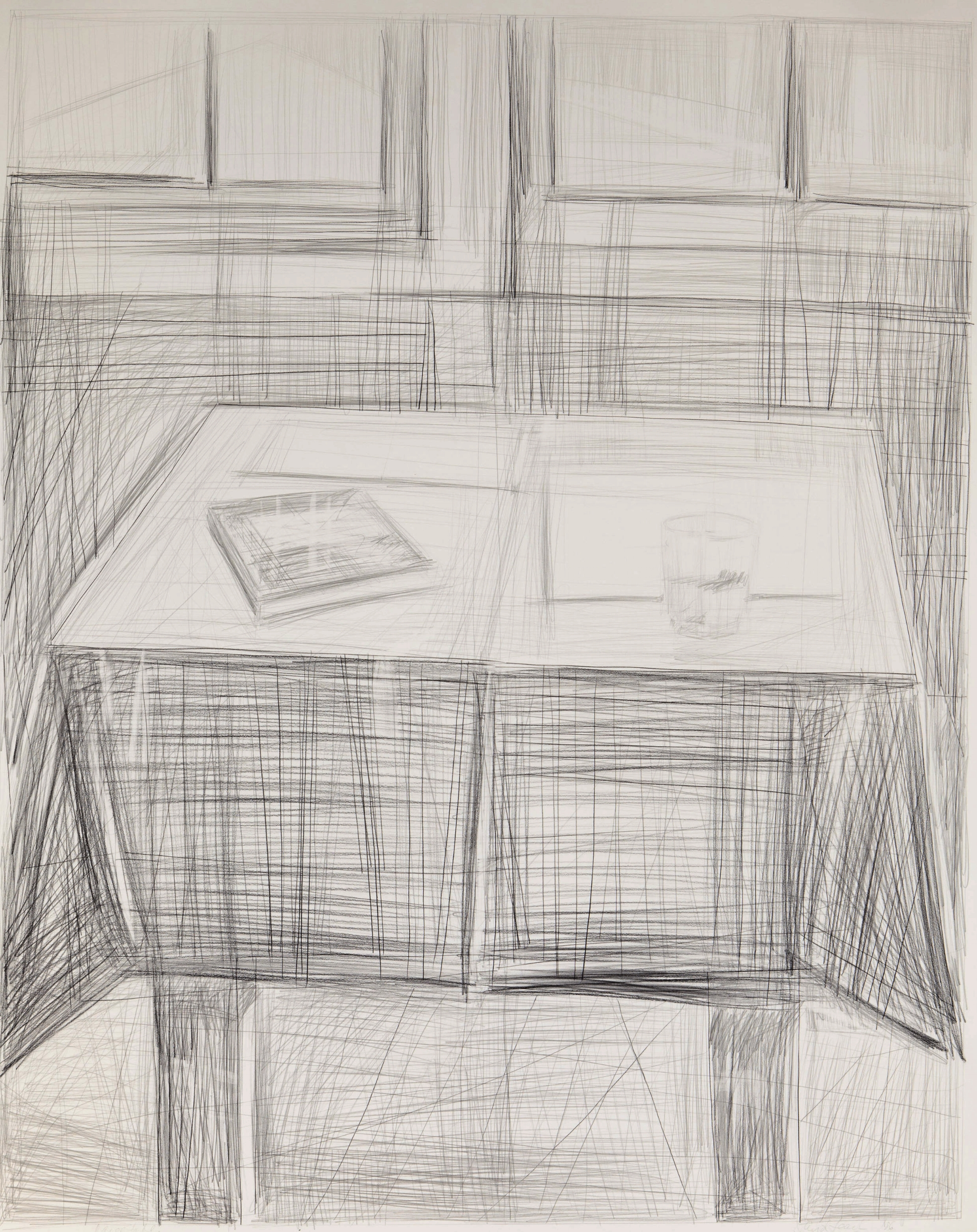 Large Table  .  1986. 58 × 46 in., graphite and charcoal pencil
