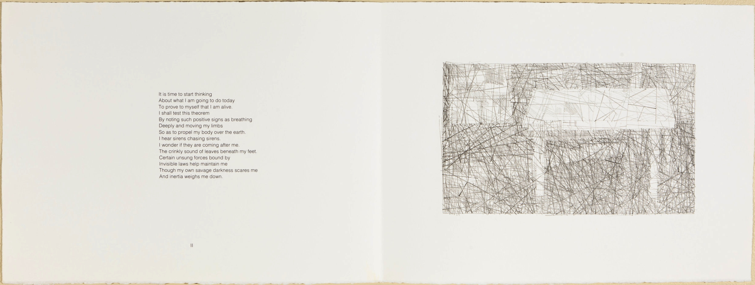 Wanderers and Other Poems  .  1985.  p.2, 11 × 30 in., lithograph