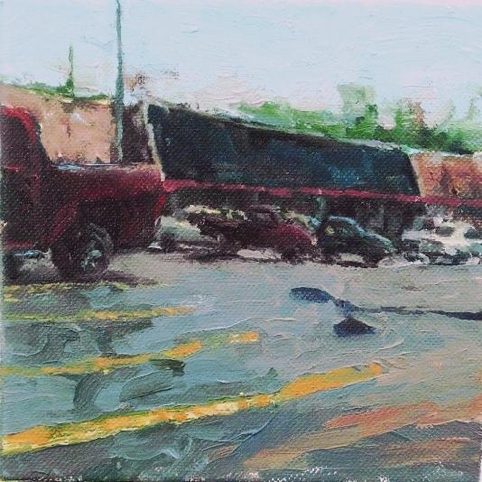 "Kroger, Oil on canvas, 4"" x 4"""