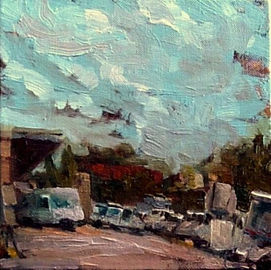 "Back of the Post Office, Oil on canvas, 8"" x 8"""