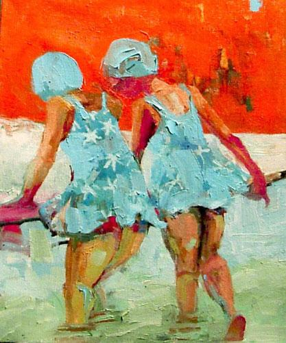 """Blue Daisy Suits, Oil on canvas, 10"""" x 8"""""""