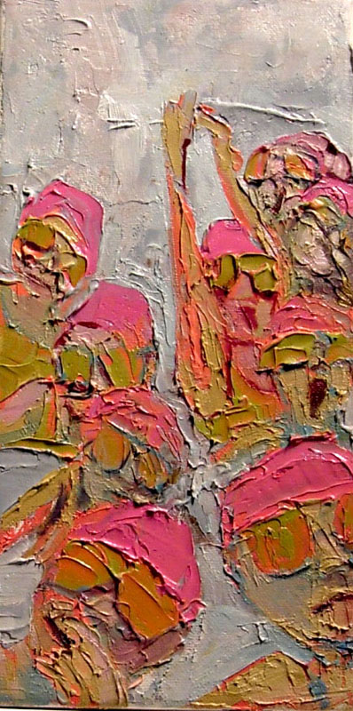 """Unsynchronized Swimming, Oil on canvas, 9"""" x 6"""""""