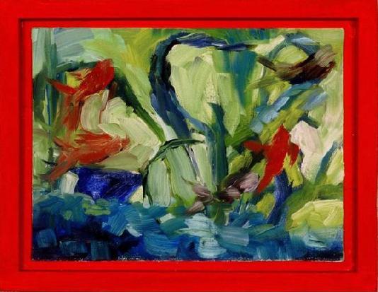 """Aquarium, Oil on panel, 6"""" x 9"""""""