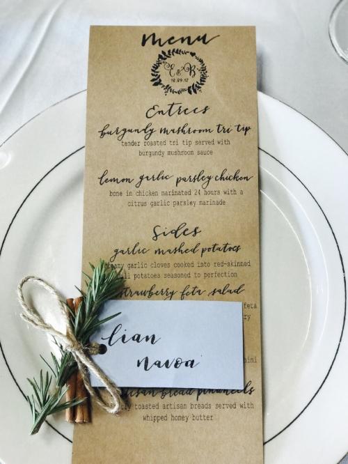 Printable Wedding Menu starting at $25