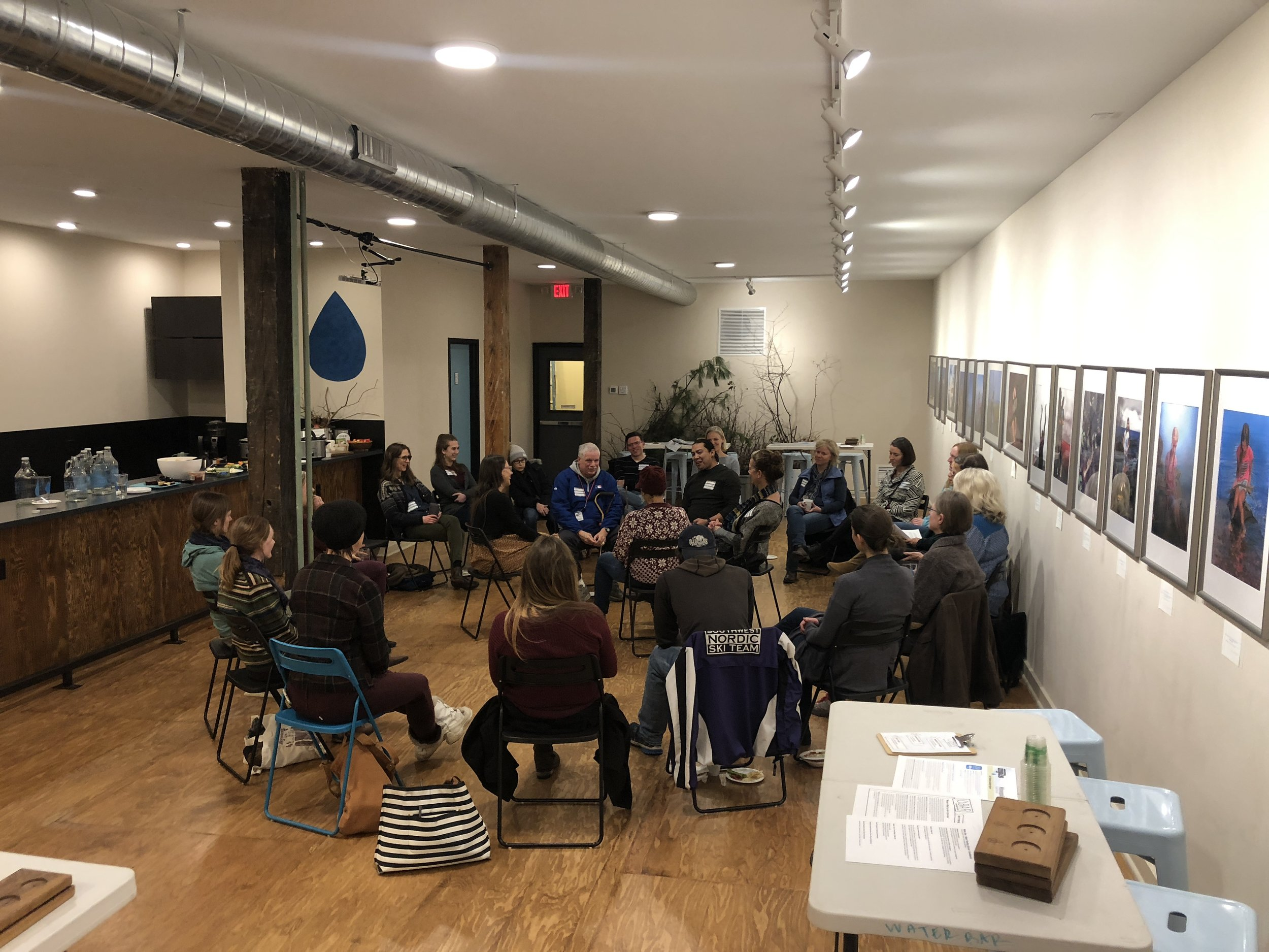 A storytelling workshop at Water Bar, part of the Water Tending School pilot program (2018)