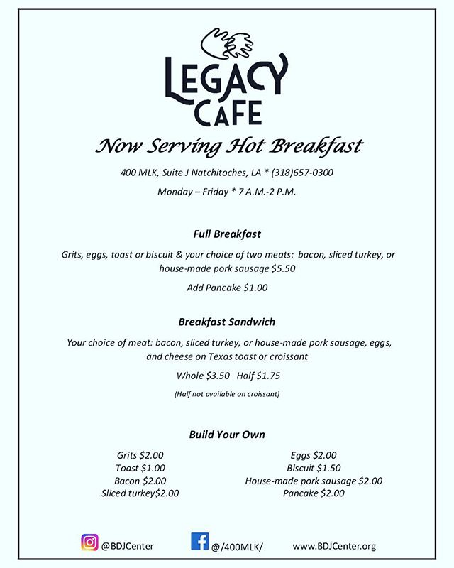 Legacy Cafe is now serving Fresh Hot to order breakfast 🍳 🥚 🥞 🥓 from 7A.M. To 10:30A.M.