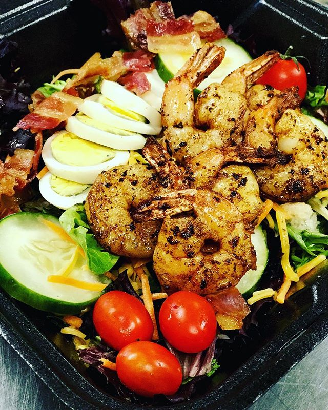 Fully loaded shrimp salad on our Legacy Cafe' catering menu
