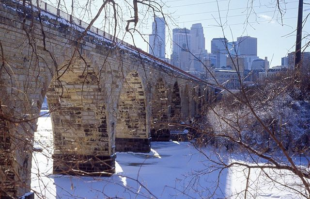 The Stone Arch Bridge, in winter #Nikon #NikonF3 #photography #minneapolis #minnesota #msp #filmphotography #slidefilm #kodak #kodakektar #ektar #winter #snow #stonearchbridge
