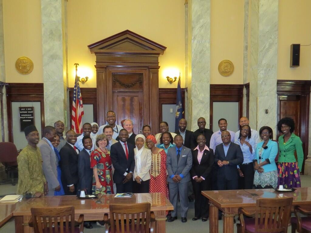 Judge Phillip R. Rumsey, New York State Supreme Court, hosting young African leaders in his chambers at the Cortland County Courthouse (2014)