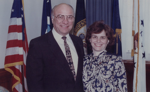 Catherine with her boss and mentor Clayton Yeutter, Secretary of the U.S. Department of Agriculture (1989)