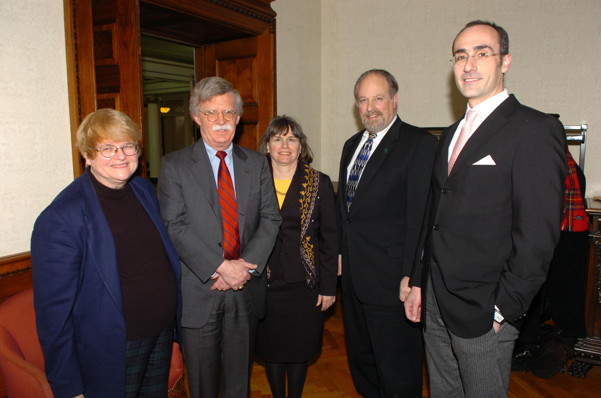 Ambassador John Bolton speaking at the Maxwell School pictured here with Professor Maragret Hermann, Dean Mitch Wallerstein, and Professor Arthur Brooks (2007)