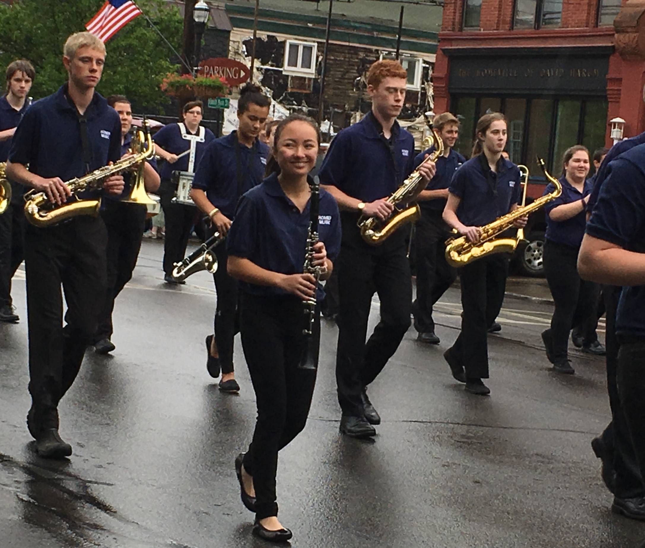 Vivi marching in the Homer High School Band (2017)