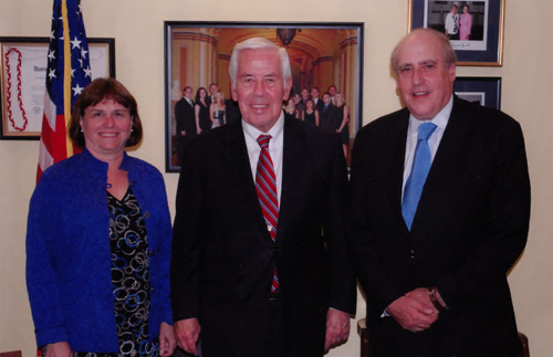 Catherine Bertini with Senator Richard Lugar and fellow co-chair of the Chicago Council on Global Affairs Agriculture Development Initiative Dan Glickman (2009)