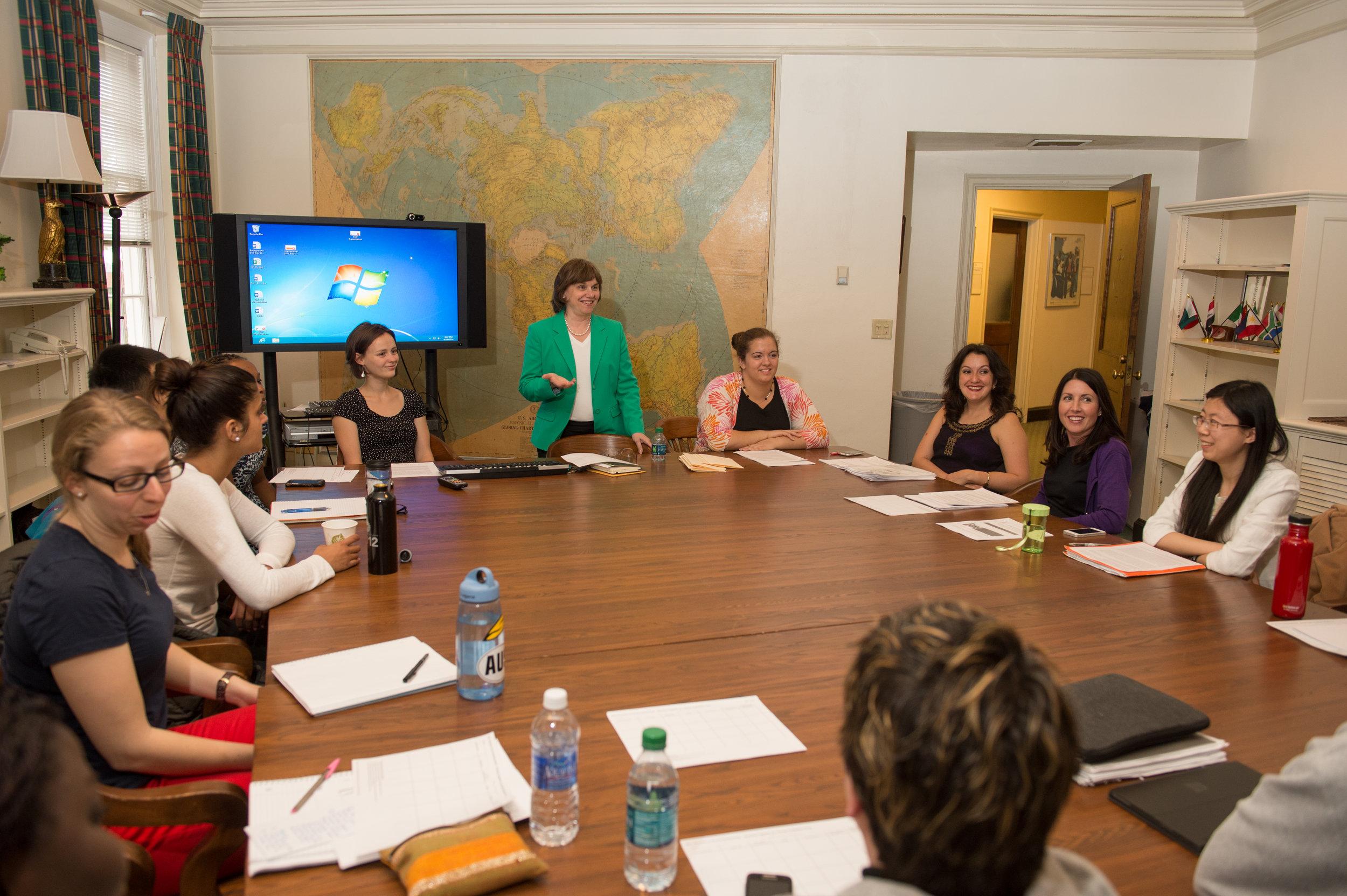 Catherine Bertini teaching a Girls' Education class (2014)