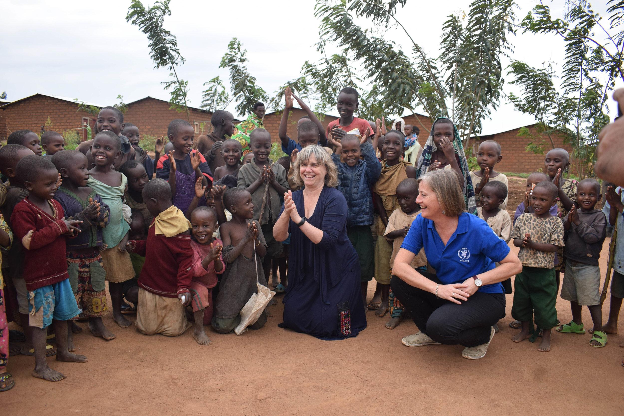 Mahama Refugee Camp, Rwanda with Edith Heines, WFP Country Director 2018 – Photo by Bosco Muyinda