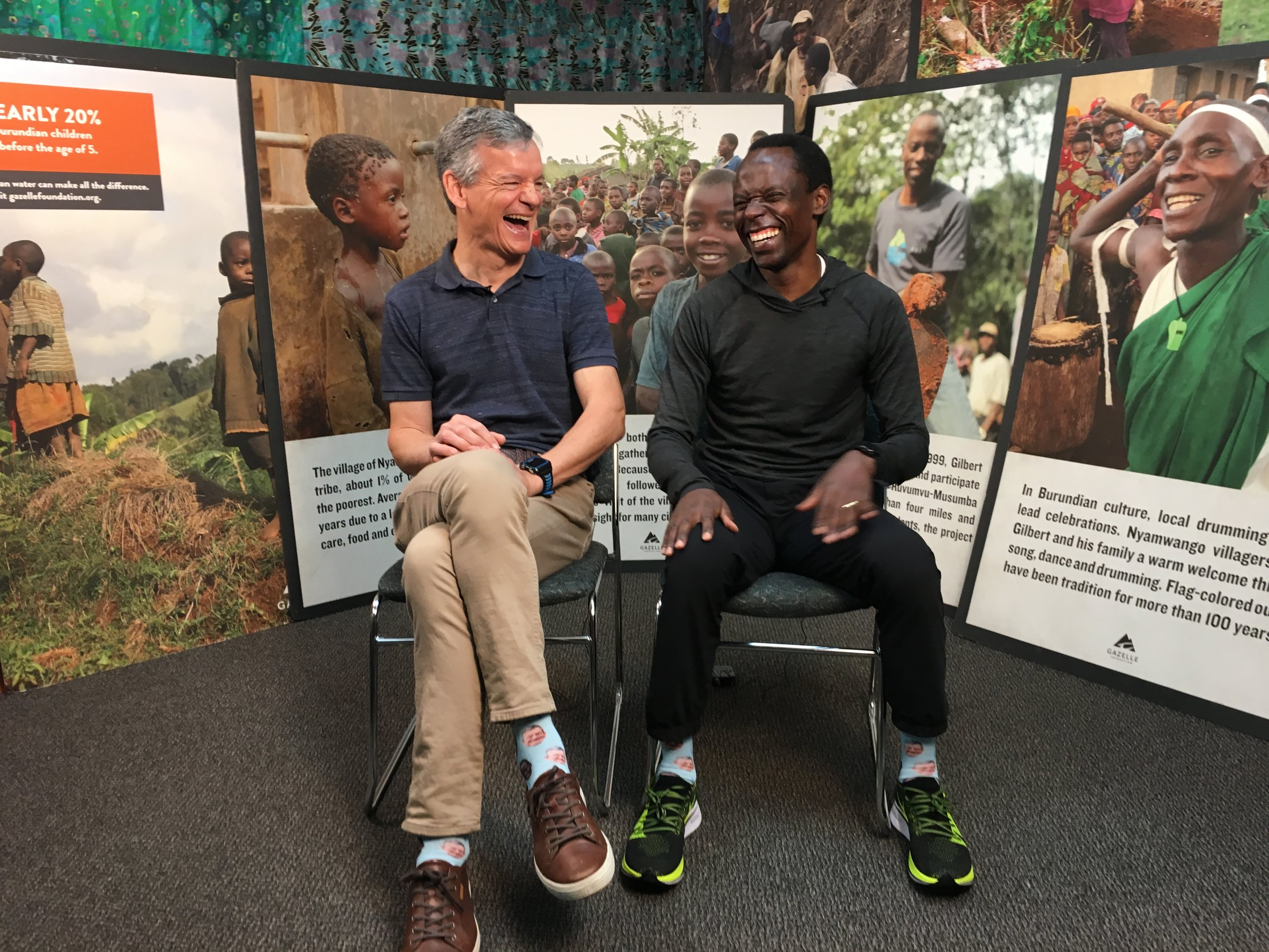 Peter Rauch and Gilbert Tuhabonye reminisce about how they first met, and the 23 mile run where the foundation was conceived by Paul Pugh, Peter Rauch and Gilbert Tuhabonye. Peter Rauch has been a tireless champion of the Gazelle Foundation for the water since day one. (photo March 2019, Gazelle Foundation offices in Austin Texas)