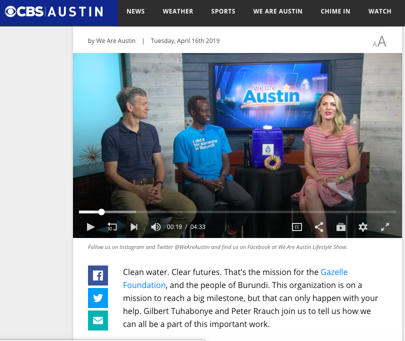 Peter Rauch and Gilbert Tuhabonye talk with Taylor Ellison host of We Are Austin on Tuesday, April 16, 2019 about Spring For The Water and the Gazelle Foundation.