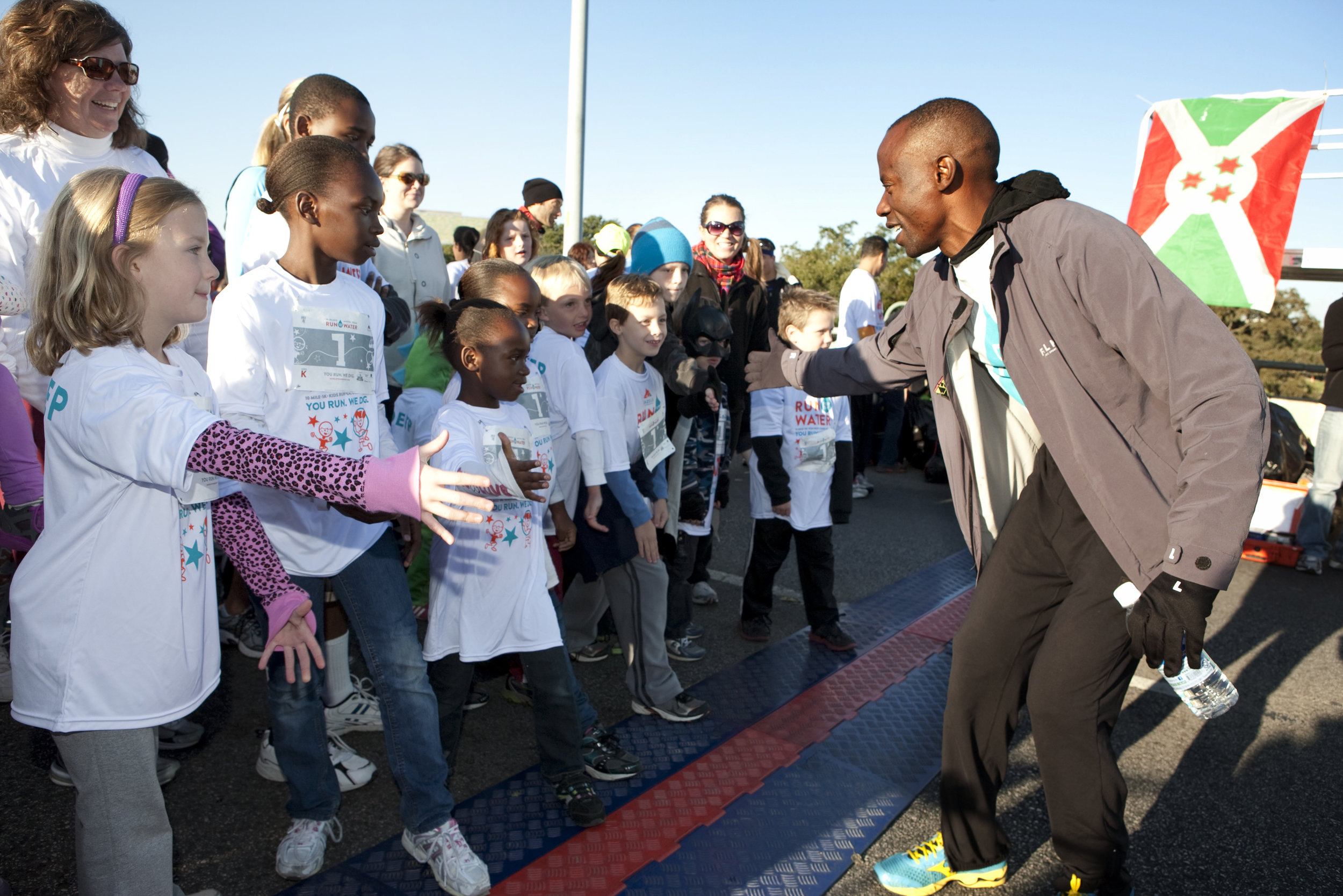 Gilbert Tuhabonye at the start of the Run For The Water Kids k.