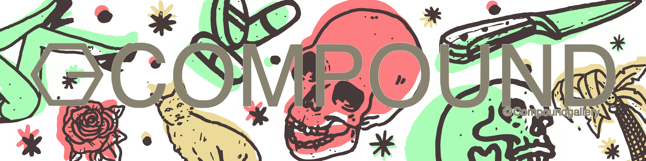 Sticker & Banner designs for Compound Gallery, Portland Oregon