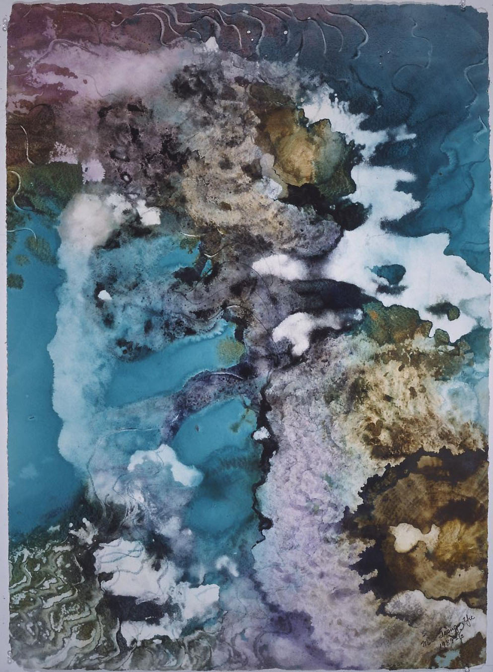 """Sunken Treasure"" 1989, Sunken Treasure Series, acrylic on paper, 42 x 32 in (107 x 81 cm)."