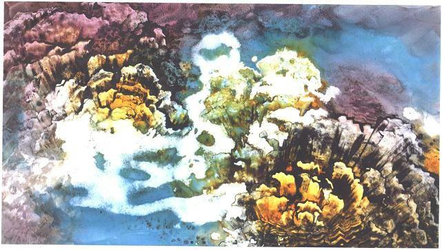 """Deep Sea Crystal"" 1993, Sunken Treasure Series, acrylic on paper, 32 x 56 inches (81 x 142 cm)."