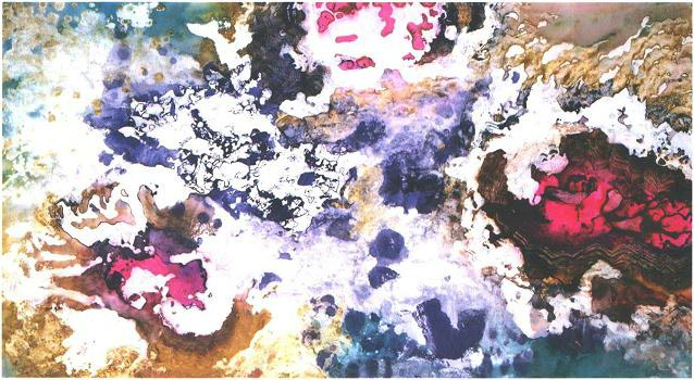"""Deep Sea Ruby"" 1992, Sunken Treasure Series, acrylic on paper, 37 x 67 inchest (94 x 170 cm)."