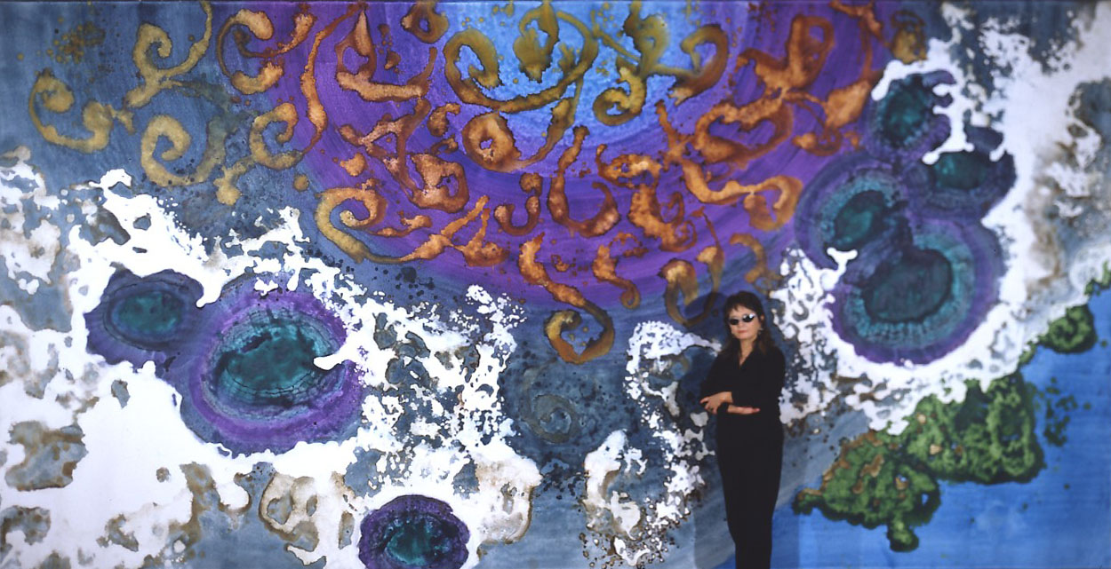 """""""Sunken Treasure"""" 2003, with Artist, Sunken Treasure Series, acrylic on canvas, 10 x 20 feet (305 x 611 cm)."""