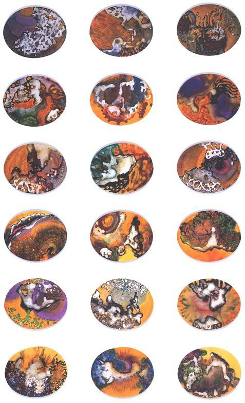 """""""Amber Glow Park"""" 1995, Amber Glow Series, acrylic on canvas, 24 oval pieces, 16 x 20 inches (41 x 51 cm) each."""