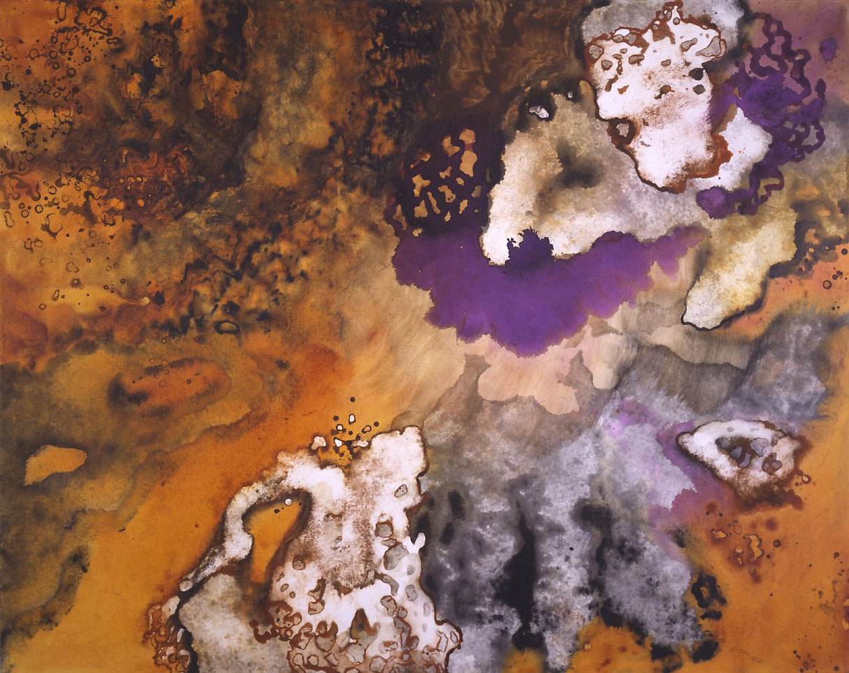 """""""Acra Gold Amber"""" 1994, Amber Glow Series, acrylic on canvas, 48 x 60 in (122 x 152 cm)."""