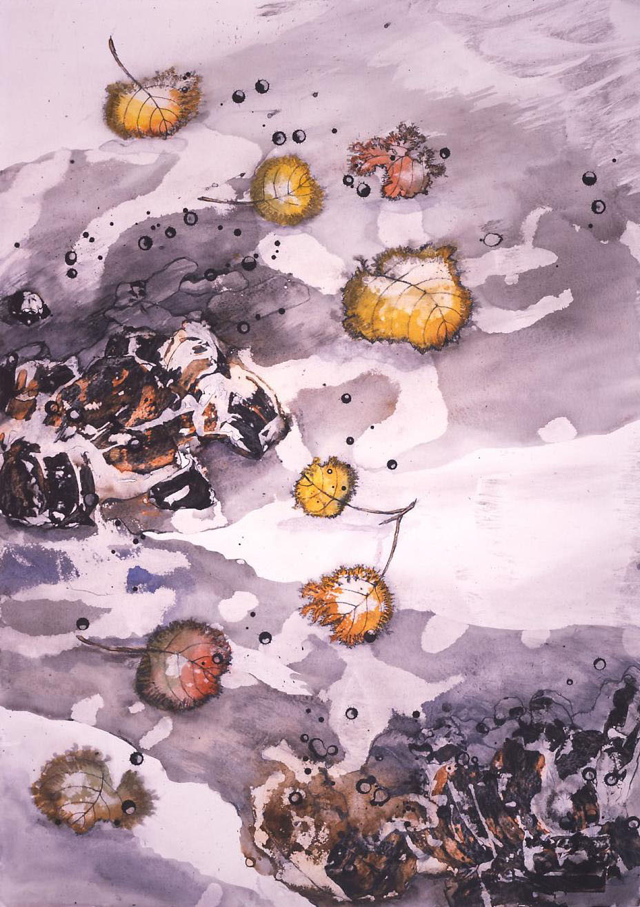 """""""Wind - Early Winter"""" 1966, Aspen Leaves and Wind Series, acrylic on paper, 42 x 30 in (106 x 76 cm)."""