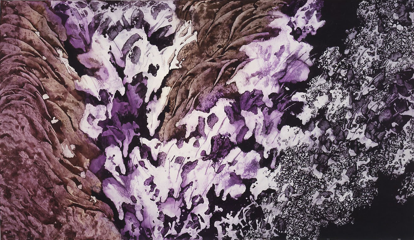 """""""Avalanche"""" 1987, Avalanche Series, acrylic on paper, 42 x 72 in (107 x 183 cm)."""