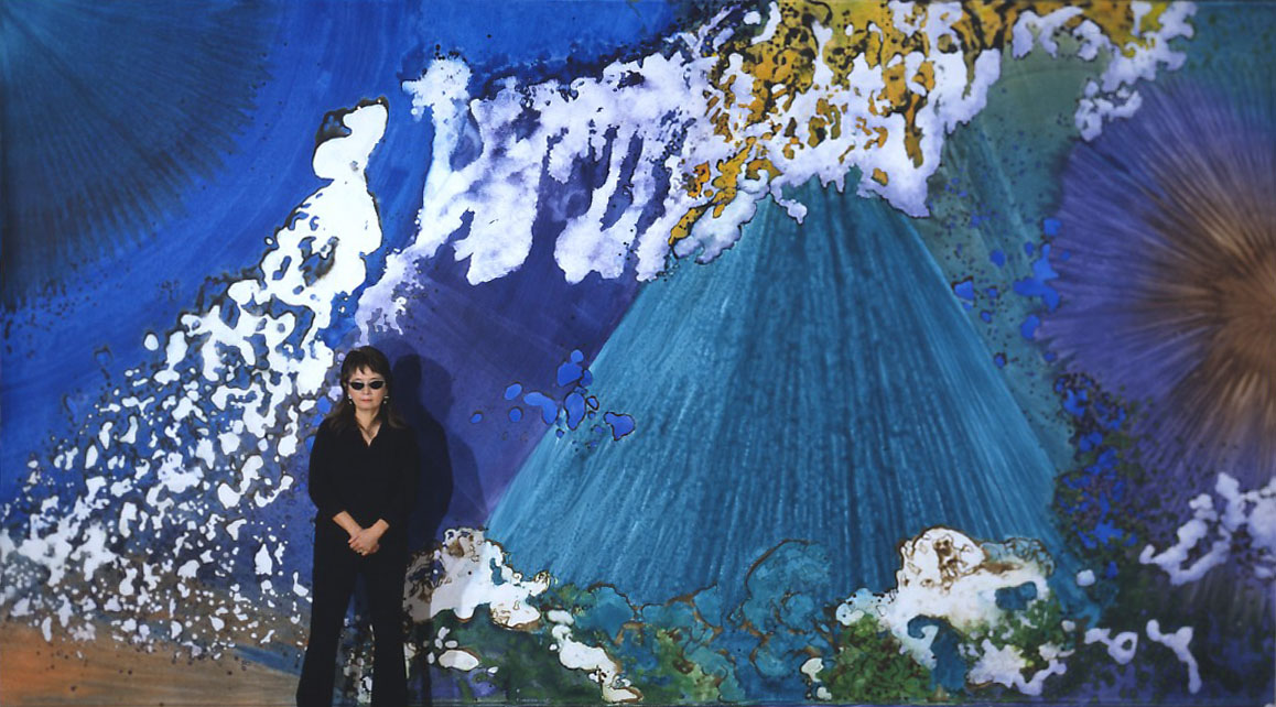 """Crystal Pyramid"" 2003, Crystal Reef Series, acrylic on canvas, 10 x 18 feet (305 x 549 cm), artist pictured."
