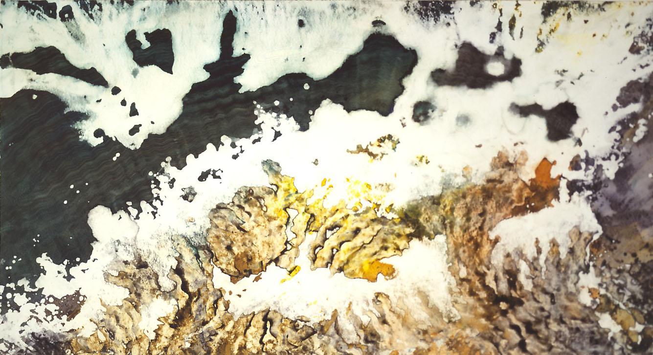 """Deep Winter"" 1988, Glacier Garden Series, acrylic on paper, 38 x 68 in (97 x 173 cm)."