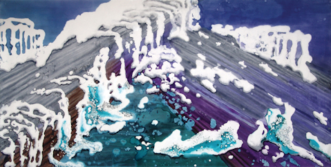"""Glacier Temple Melting"" 2007, Glacier Melting Series, acrylic on canvas, 10' x 20' (305 x 610 cm)."