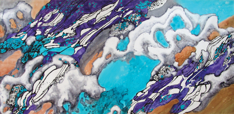 """Glacier Rapid Melting"" 2007, Glacier Melting Series, acrylic on canvas, 10' x 20' (305 x 610 cm)."