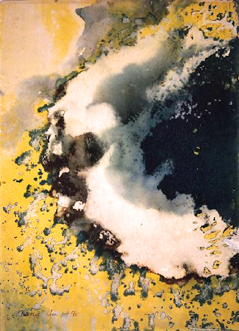 """Glowing Green"" 1970, Melting Series, acrylic on paper, 30 x 22 in (76 x 65 cm)."