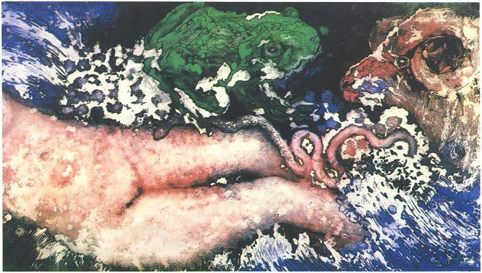 """""""Spring Bather"""" 1985,Dream Series, acrylic on paper, 42 x 72 inches (107 x 183 cm)."""