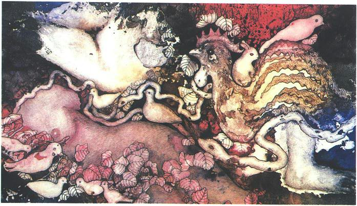 """""""Temptation"""" 1984,Dream Series, acrylic on paper, 42 x 72 inches (107 x 183 cm)."""