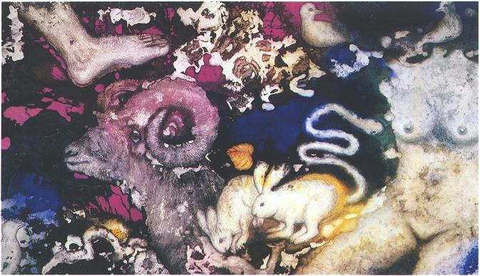 """Wonderland"" 1984,Dream Series, acrylic on paper, 42 x 72 inches (107 x 183 cm)."