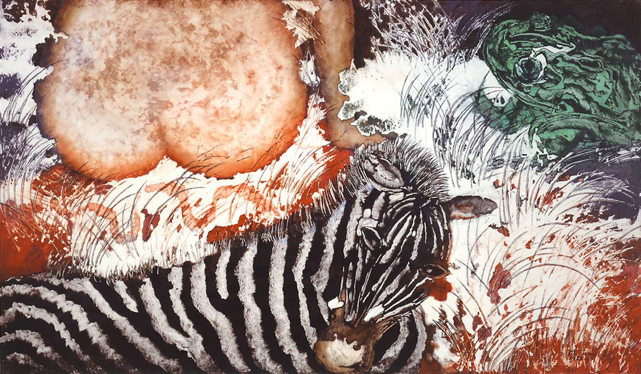 """""""Bashful Courtship"""" 1986,Dream Series, acrylic on paper, 42 x 72 inches (107 x 183 cm)."""
