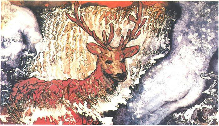 """Midsummer Night's Dream"" 1985, Dream Series, acrylic on paper, 42 x 72 inches (107 x 183 cm)."