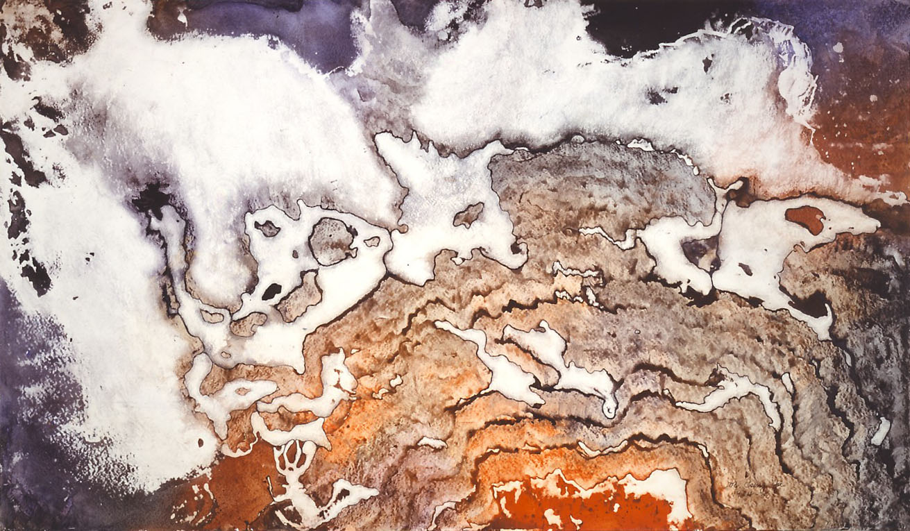 """Molten Lava"" 1984, Molten Lava Series, acrylic on paper, 42 by 72 inches (107 by 183 cm)."