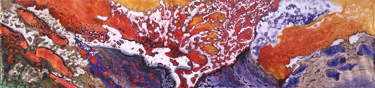 """Fire - Elements of Life"" 2004, Molten Lava Series, acrylic on canvas, 8 x 33 feet (244 x 1006 cm)."