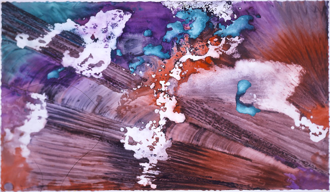 """""""Turquoise Floating on Brown"""" 1999, Turquoise Floating Series, acrylic on paper, 42 x 72 in (107 x 183 cm)."""